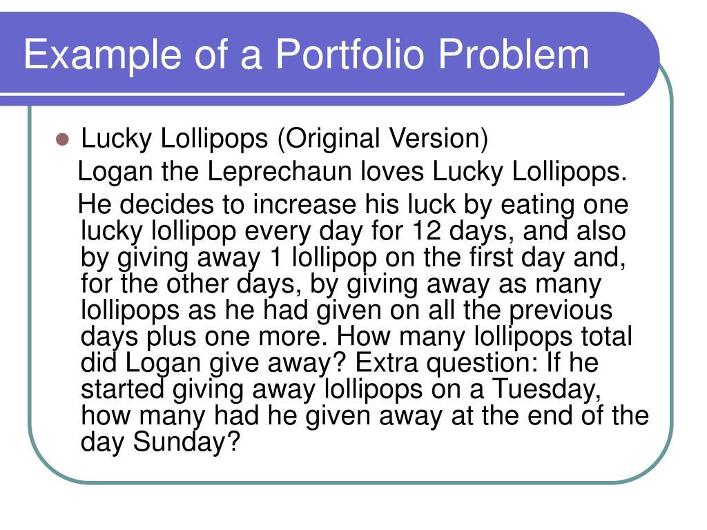 Example of a Portfolio Problem