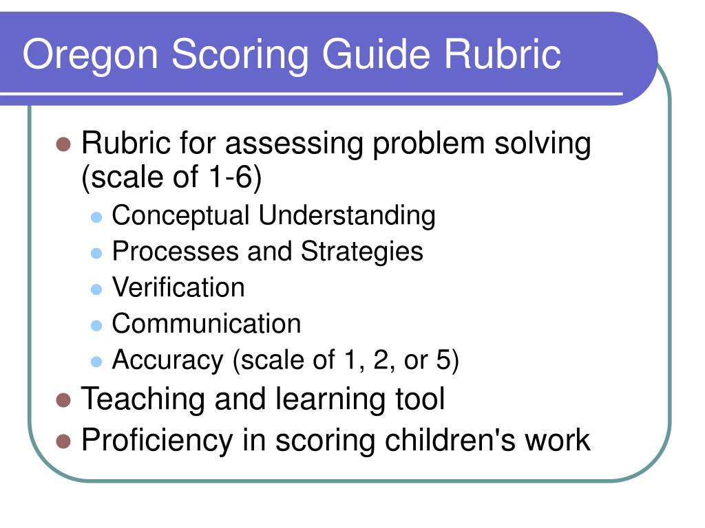 Oregon Scoring Guide Rubric