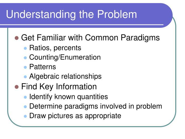 Understanding the problem