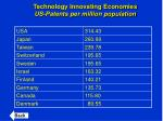 technology innovating economies us patents per million population