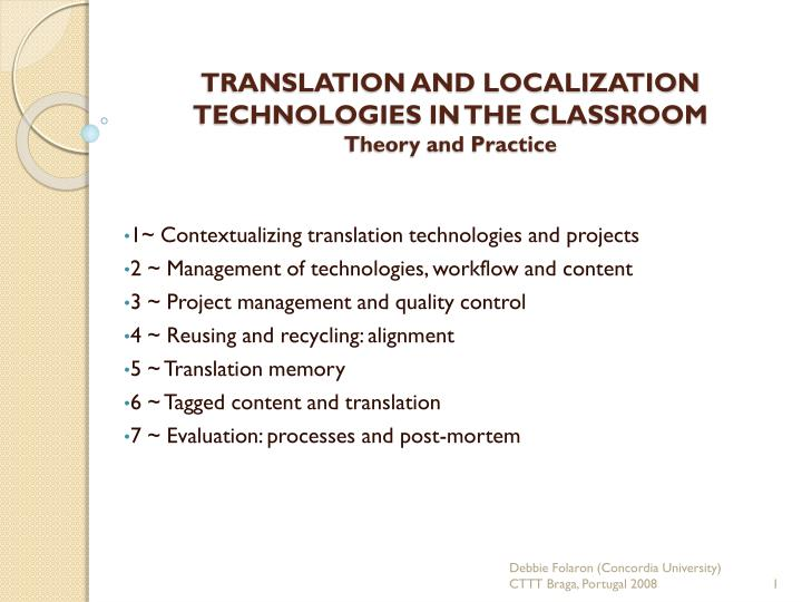 translation and localization technologies in the classroom theory and practice n.