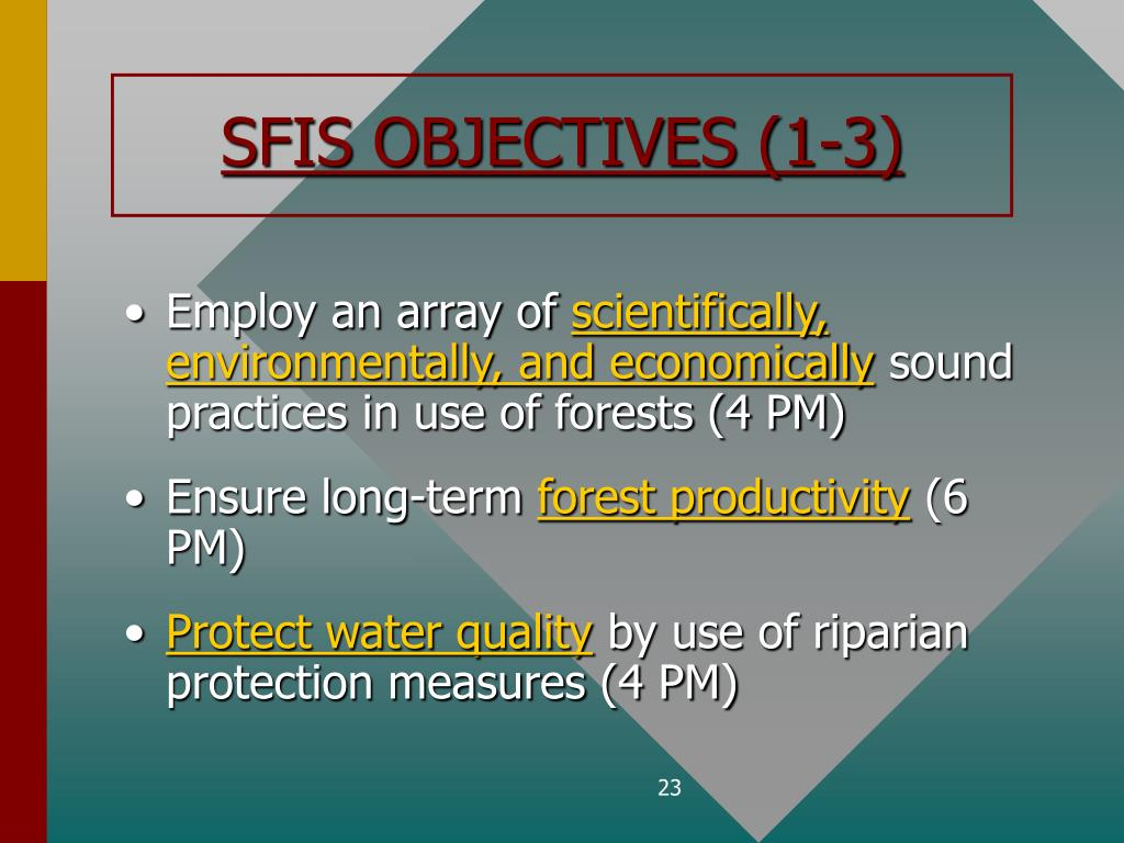 SFIS OBJECTIVES (1-3)