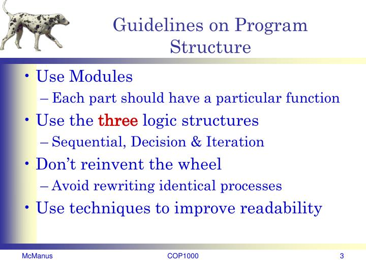 Guidelines on program structure