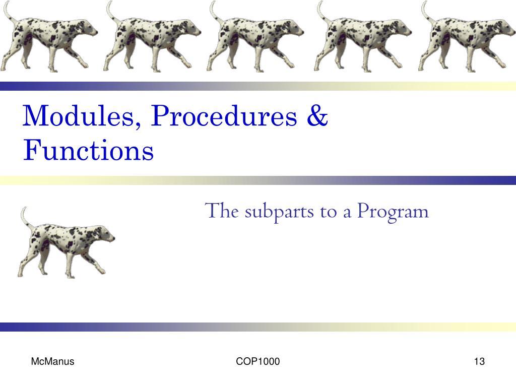 Modules, Procedures & Functions