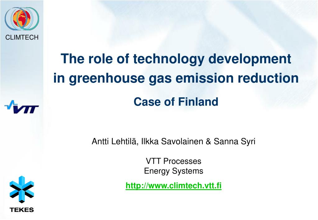 the role of technology development in greenhouse gas emission reduction case of finland l.
