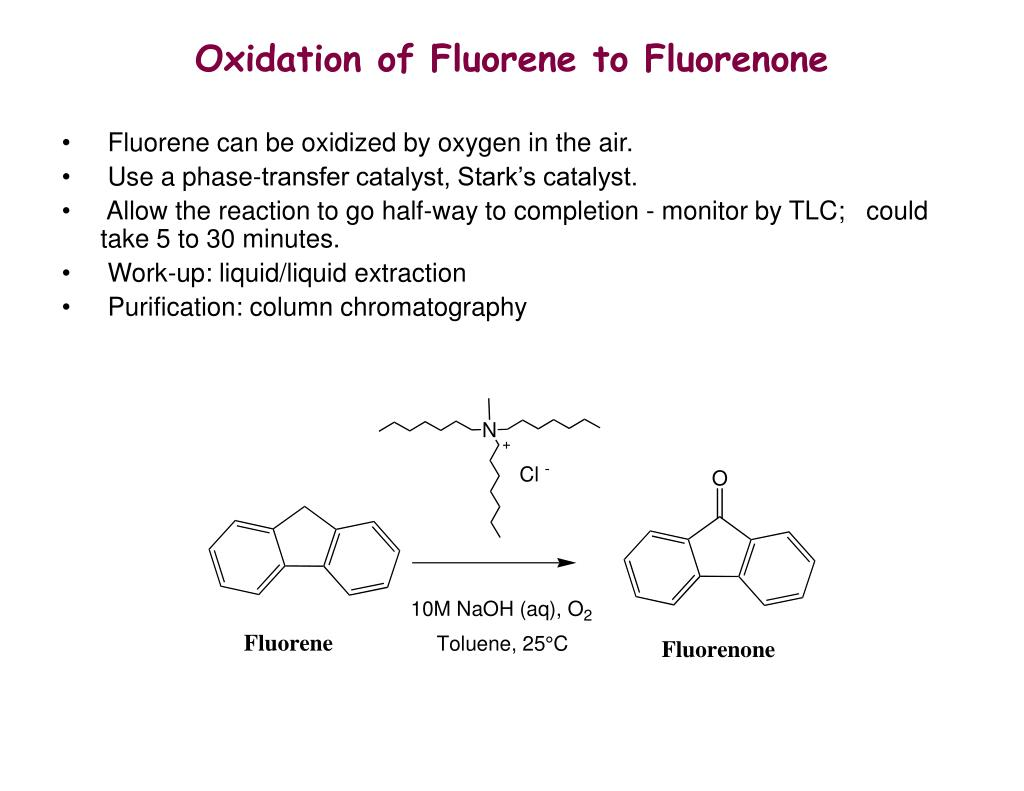 column chromatography of fluorene and fluorenone The column chromatography procedure served to separate the fluorene in  fluorenone this was possible because the fluorenone is significantly more polar  than.