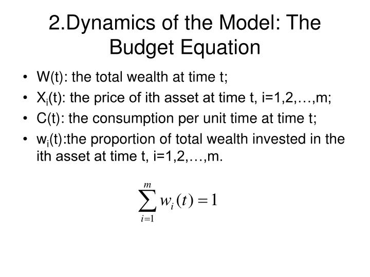 2 dynamics of the model the budget equation