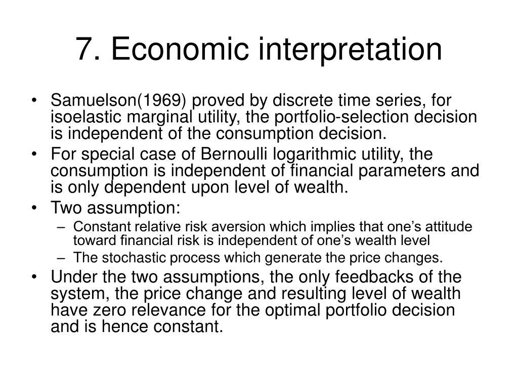 7. Economic interpretation