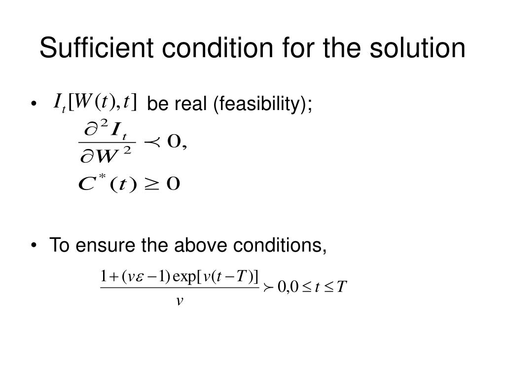 Sufficient condition for the solution