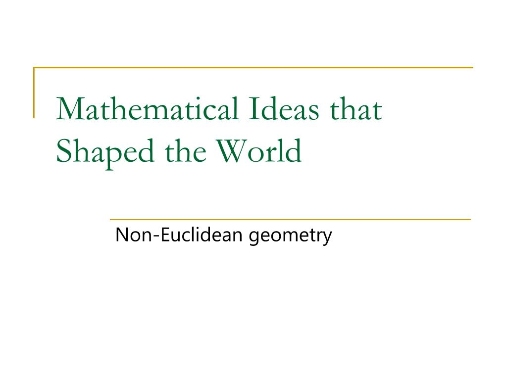 mathematical ideas that shaped the world l.