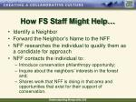 how fs staff might help