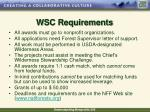 wsc requirements