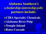 alabama southern s scholarship internship jobs partners include