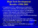 high tech development results 1998 2001