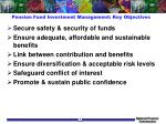 pension fund investment management key objectives