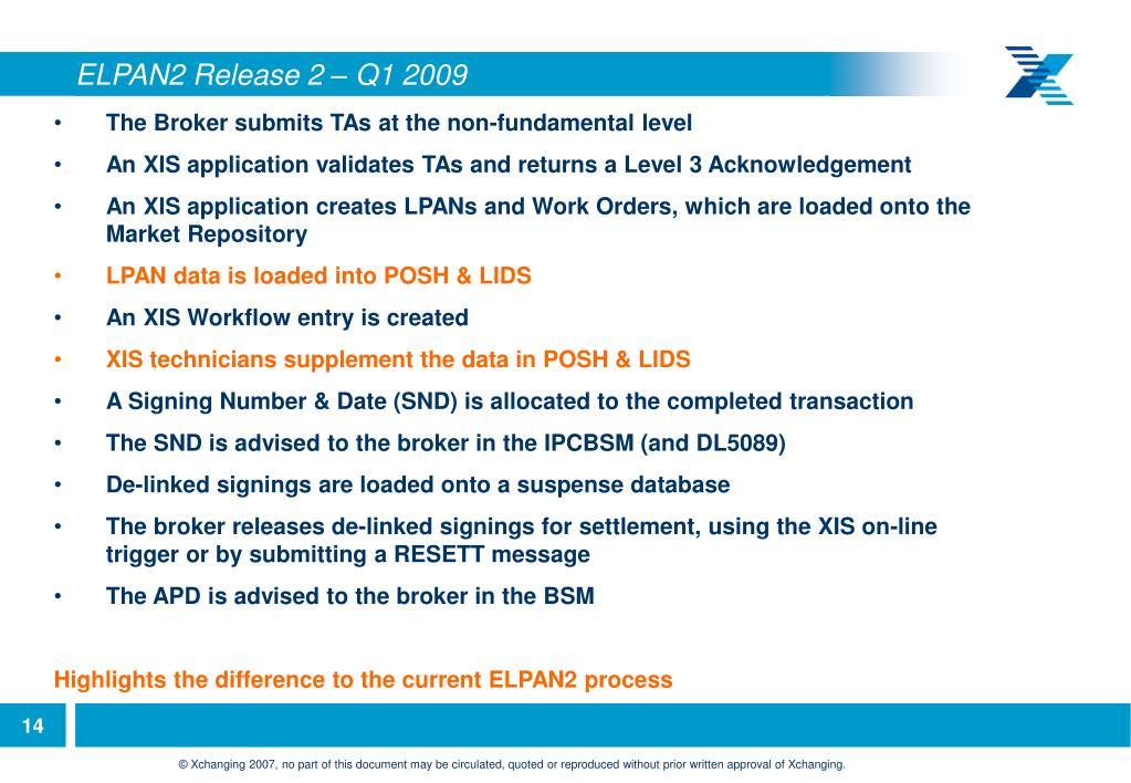 ELPAN2 Release 2 – Q1 2009