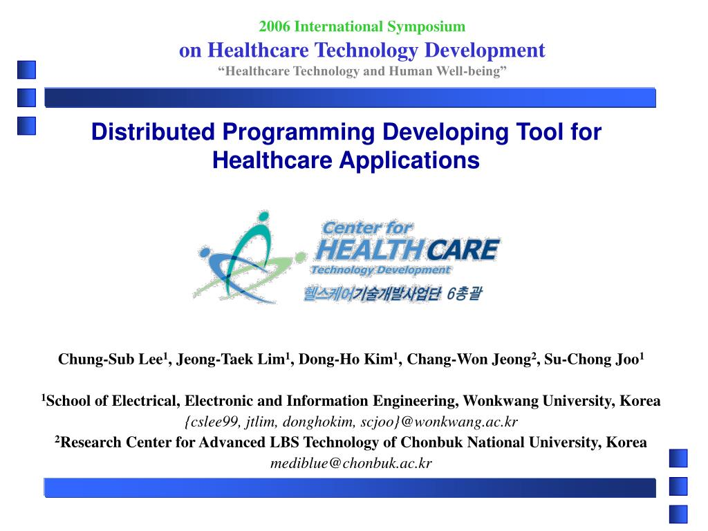 distributed programming developing tool for healthcare applications l.