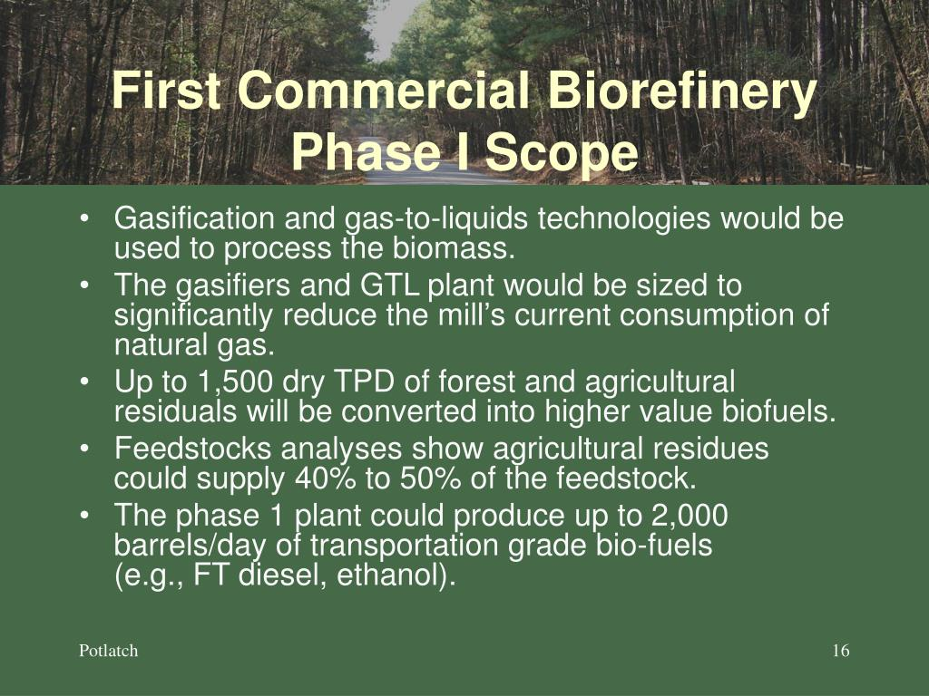First Commercial Biorefinery Phase I Scope