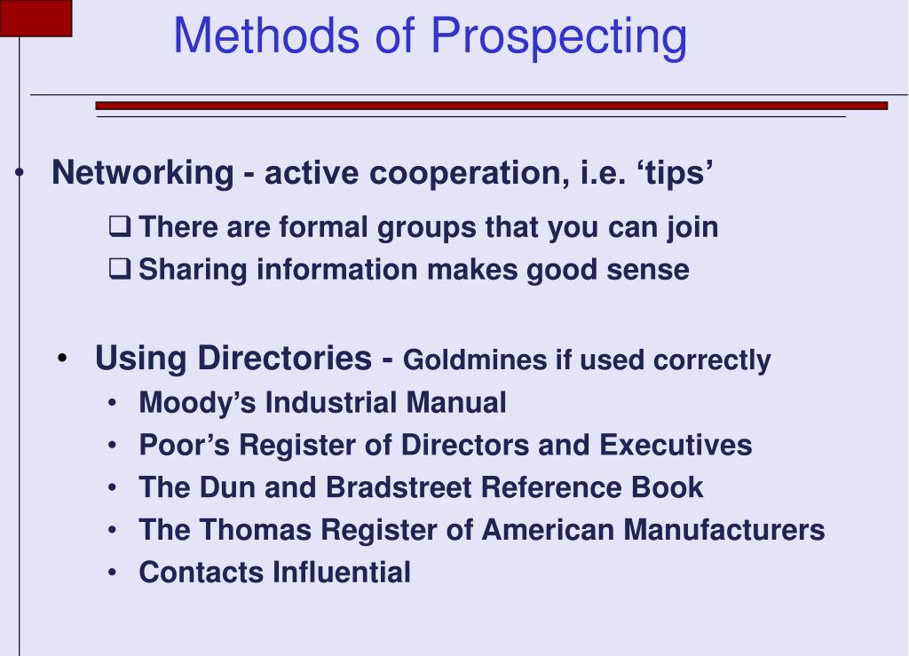 Networking - active cooperation, i.e. 'tips'