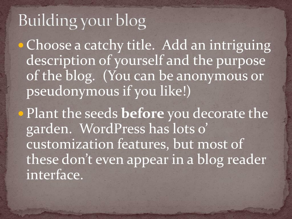 Building your blog