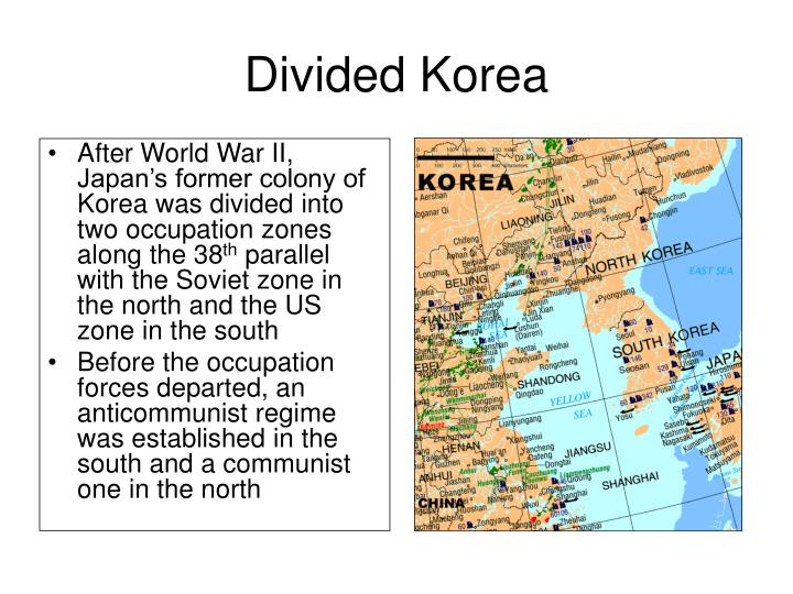 Ppt part 1 map quiz part 2 korea and cuba theme early cold war after world war ii japans former colony of korea was divided into two occupation zones along the 38th parallel with the soviet zone in the north and the gumiabroncs Images