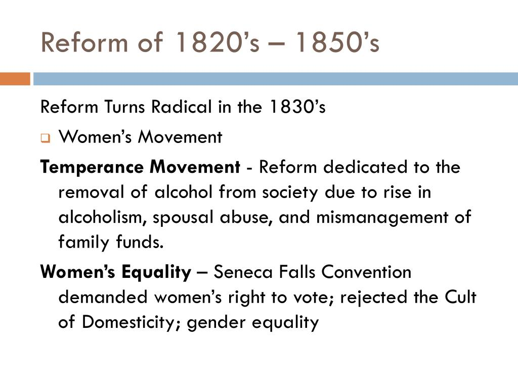 american reform 1820 1850 American renaissance- in 1850 delegates to the first national women's convention in worcester, ma chapter 11 religion and reform, 1820-1860.