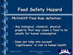 food safety hazard
