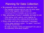 planning for data collection