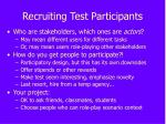 recruiting test participants