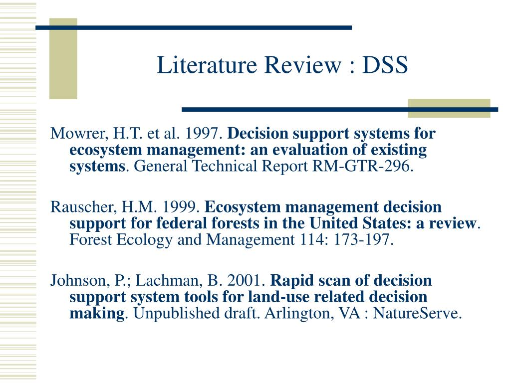 Literature Review : DSS