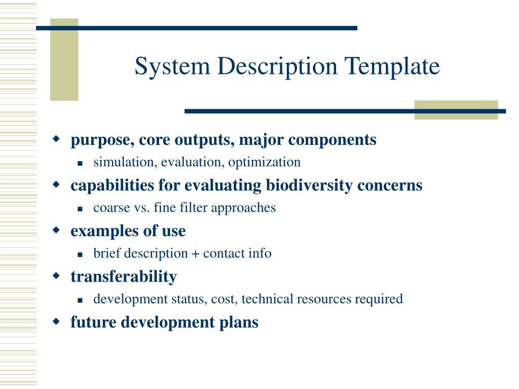 System Description Template