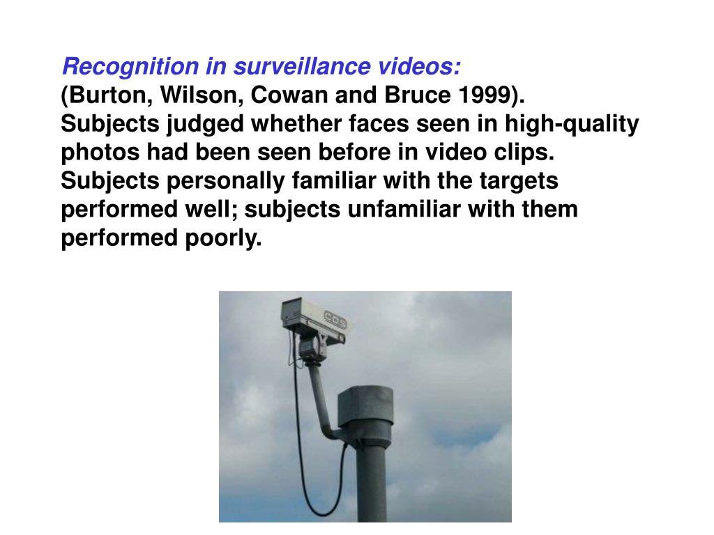 Recognition in surveillance videos: