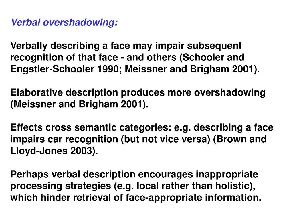 Verbal overshadowing: