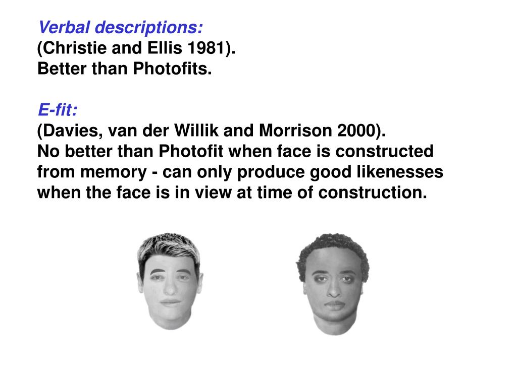 Verbal descriptions: