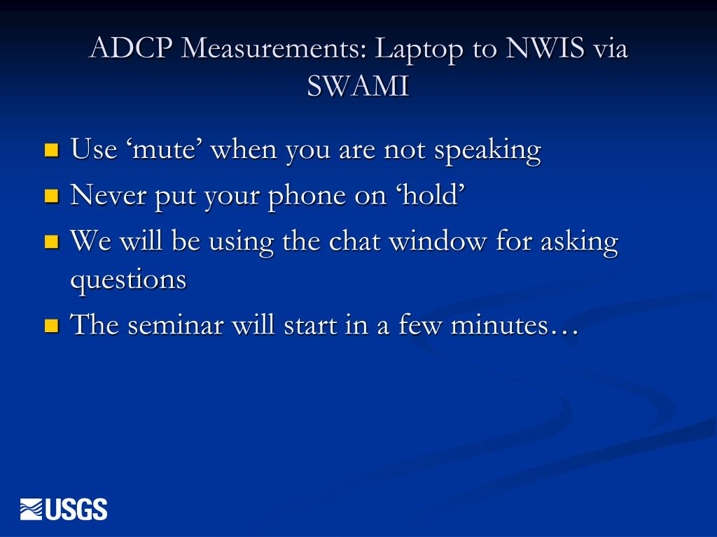 adcp measurements laptop to nwis via swami l.