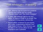 walt whitman in writing