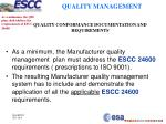 quality conformance documentation and requirements