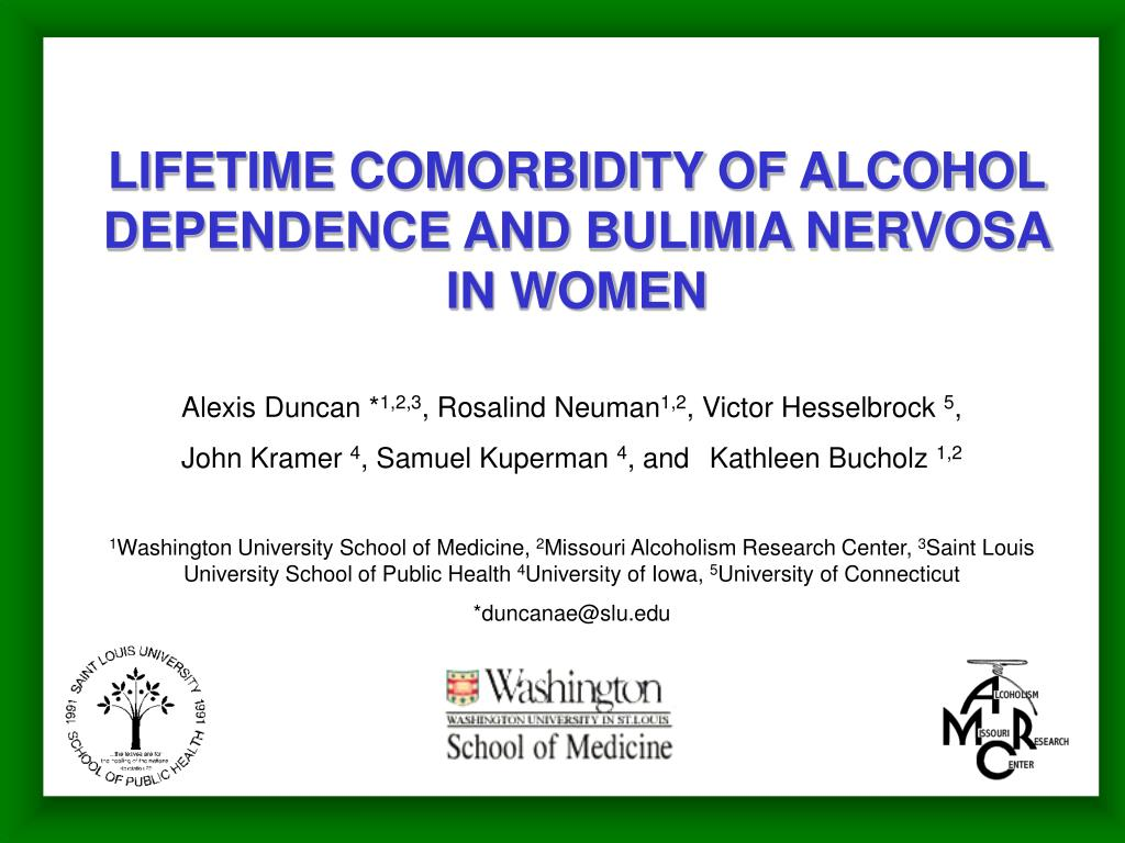 lifetime comorbidity of alcohol dependence and bulimia nervosa in women l.