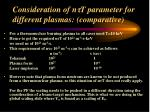 consideration of n t parameter for different plasmas comparative