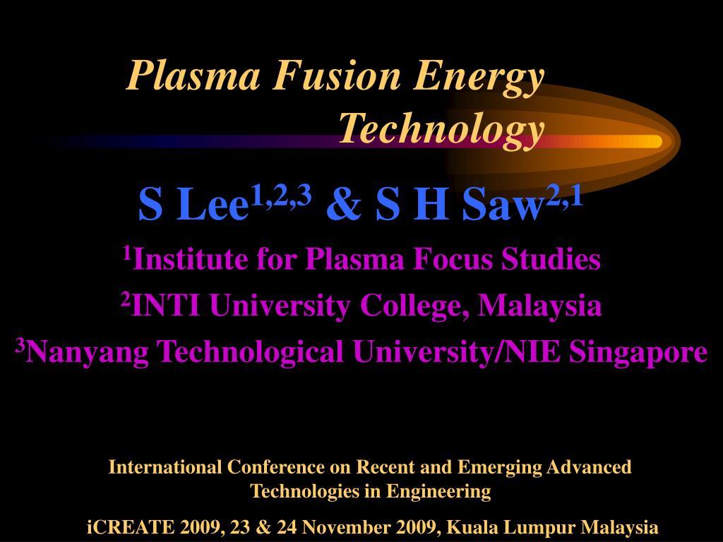 plasma fusion energy technology l.
