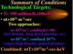 summary of conditions
