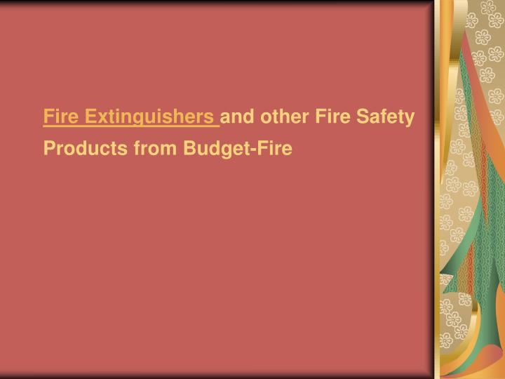 Fire extinguishers and other fire safety products from budget fire
