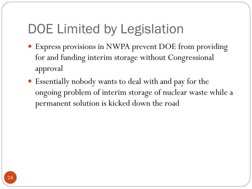 DOE Limited by Legislation