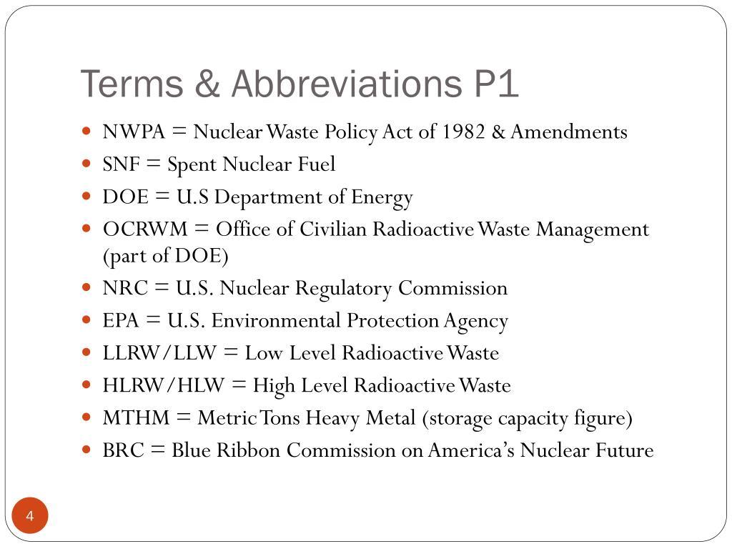 Terms & Abbreviations P1