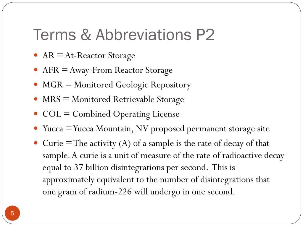 Terms & Abbreviations P2