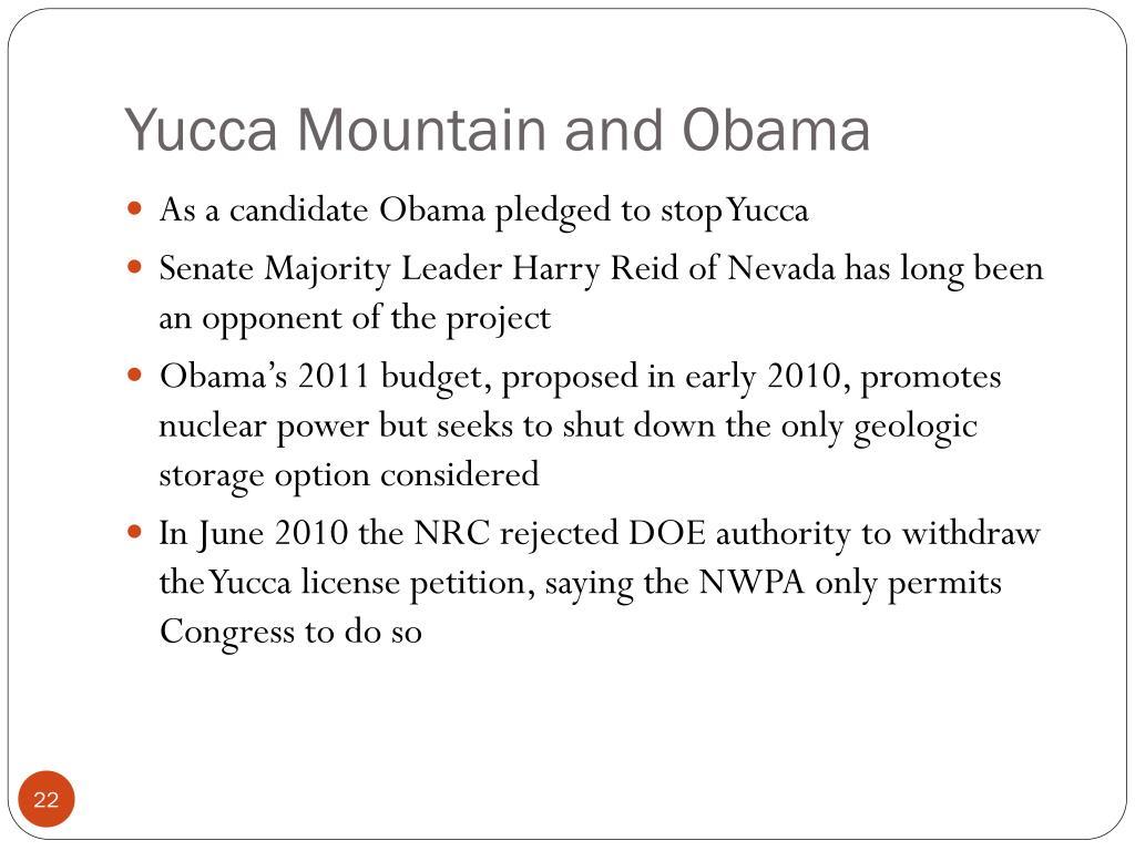 Yucca Mountain and Obama