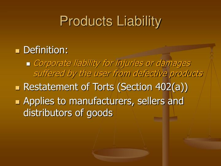 products liability outline Outline of product safety and product liability law, and recent developments september 2009 jalil asif four new square lincoln's inn.