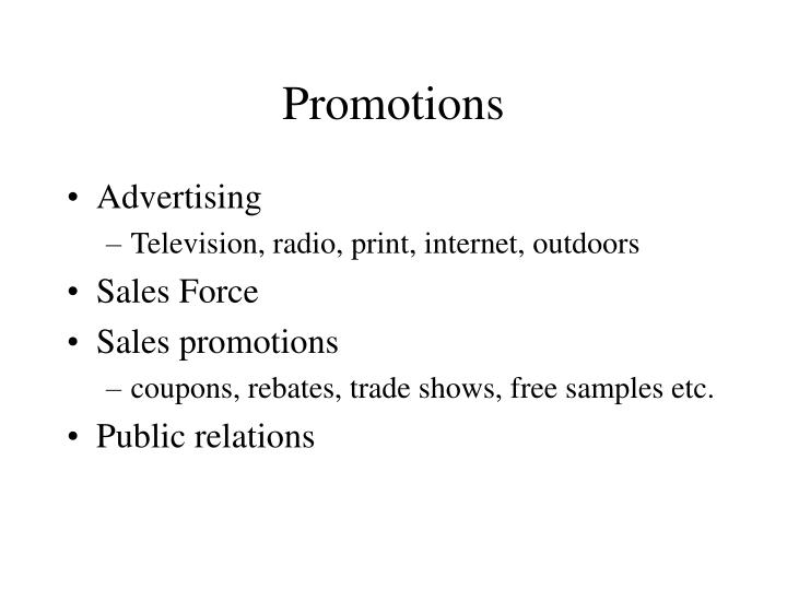 promotions n.