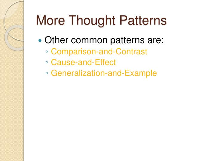 More Thought Patterns