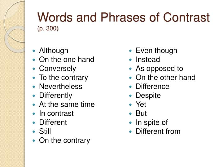 Words and Phrases of Contrast